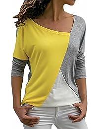 Yesmile Damen Blusen Mode Patchwor Tshirt Frauen Herbst Casyal Langarm Tops  Lange Ärmel Oberteile Bluse Shirts 3d9cd9cc46