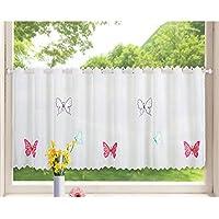 Transparente Scheibengardine Aus Voile , 40x120, Schmetterling, Luftiger  Voile Mit Gesticktem Muster, 42002