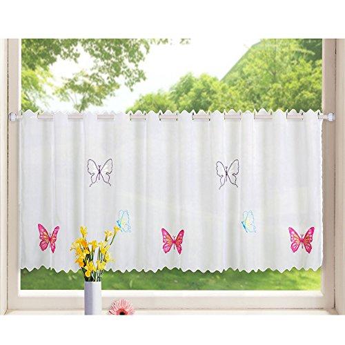 Gardinenbox Transparente Scheibengardine aus Voile, 40x120, Schmetterling, luftiger Voile mit gesticktem Muster, 42002