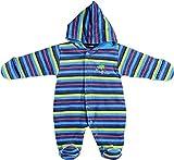 fixoni, Baby Jungen Babyoverall, wattierter Anzug, blau geringelt (62), 3121503720