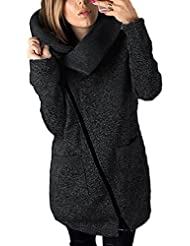 BAINASIQI Frauen Winter Warm Casual Hoodies Lange Reißverschluss Kapuzenpullover Jacke Mäntel