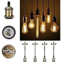 GreenSun Vintage colgante luz Kit 4-pack RQ, envejecido DIY lámpara de techo Loft industrial, colgante retro lámpara de araña, Base E27Cerámica Lámpara Soporte, 3Core Cable de 1,35M