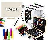 Mal Set Kinder Holz Koffer - 66 Teile Farbkasten Buntstifte Bleistifte Filzstiften Wachsmalstifte Geschenk Schulstart Kind
