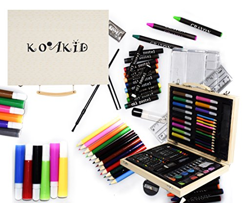mal-set-kinder-holz-koffer-66-teile-farbkasten-buntstifte-bleistifte-filzstiften-wachsmalstifte-gesc
