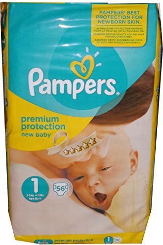 Neu Version 1 x 56 Pampers Windeln Gr. 1, 2-5 KG, New Baby, New Born, Premium Protection
