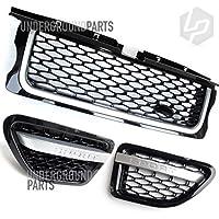 Underground Parts L-RA-10 - Juego de rejilla delantera y rejilla de ventilación lateral, color negro y plateado