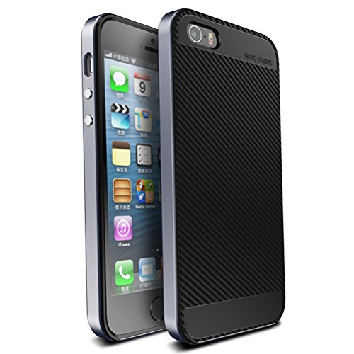 iPhone SE Hülle, HICASER Luxus Carbon Fiber [stoßdämpfende] TPU Case + Flexible PC Bumper Frame Handytasche Schutzhülle für Apple iPhone 5 / 5S / SE Grau Grau