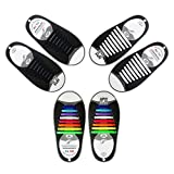 Tagvo No Tie Shoelaces, Lazy Flat Elastic Silicone Shoe Laces, Easy Cleaning Tieless Laces for Adults Kids Children Runner Athletes (3 Pairs Set)