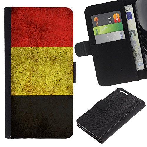 """Graphic4You Vintage Uralt Flagge Von Italien Design Brieftasche Leder Hülle Case Schutzhülle für Apple iPhone 6 Plus / 6S Plus (5.5"""") Belgien Belgisch"""