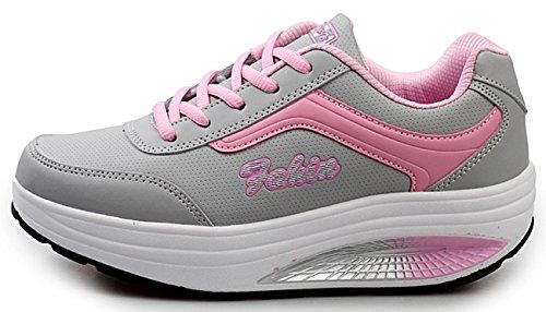 NEWCOLOR Mujeres Primavera Otoño Moda Transpirable con Cordones Zapatos De Balancín Zapatos Deportivos...