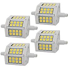4 unidades - R7S 5W 78mm LED Bombillas 24x SMD5050 Blanco Cálido 3000K 400lm, No Regulable - J78 50W R7s Bombilla Halógena
