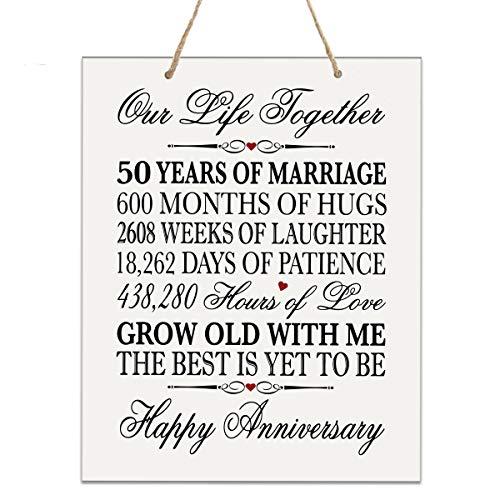 LifeSong Meilenstones Schild zum 50. Hochzeitstag, 50 Jahre Hochzeit, als Andenken für Eltern, Ehemann, Ehefrau, Ihn - Our Life Together 12x15 Rope Sign