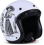 """Rebel  R9 """"Skeleton""""  Jet-Helm  Roller Chopper Scooter-Helm Bobber Motorrad-Helm Mofa  ECE zertifiziert  DOT zertifiziert  Fiberglass  Extra kleine Helmschale  XXL (63-64cm)"""