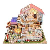 Riosupply Diy Dollhouse Room 3d Wooden Dolls House Miniature Kit Wooden Mini Handmade Hut Cabin Cottage Innovative Model Romantic Birthday Gift Sweet Talk