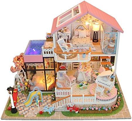 bd4c45bcd16223 Maison de de Maison poupée Miniature bricolage petite maison Kit en bois  salle créative modèle jouet ...
