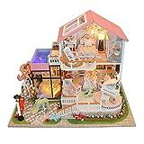 Kit fai da te casa delle bambole in miniatura cute Room with Furniture Handmade Hut Cabin Cottage con luci a LED innovativo modello romantico regalo di compleanno senza copertura antipolvere