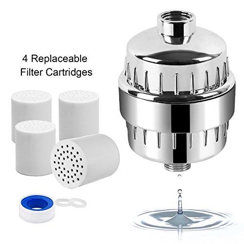 Duschfilter für hartes Wasser, INKERSCOOP 12-stufiger Duschfilter, Duschwasserfilter mit 4 austauschbaren Filterpatronen, entfernen Chlor, Schwermetall und gesundheitsschädliche Substanzen, beugt Haar und Trockenheit vor