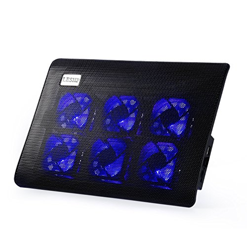 """Base de refrigeración para ordenador portátil ultra delgada (6 ventiladores silenciosos, luz LED, 2 puertos USB) Base refrigeradora para ordenadores portátiles de 10"""" a 15.4"""""""