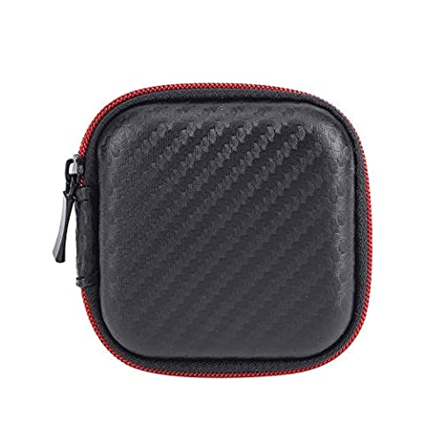 Mudder Portable Earphone Case PU Carrying Earbuds Case for MP3 Earbud and USB Cable, Black