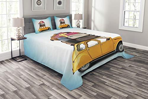 ABAKUHAUS Reise Tagesdecke Set, Altes Auto mit Gepäck, Set mit Kissenbezügen Sommerdecke, für Doppelbetten 220 x 220 cm, Mehrfarbig -