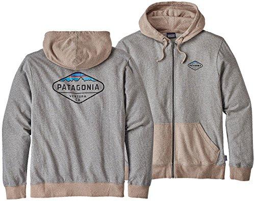 Herren Kapuzenjacke Patagonia Fitz Roy Crest Lw Full Kapuzenjacke Feather Grey w/El Cap Khaki