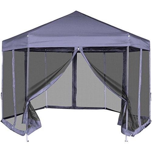 Festnight gazebo pieghevole tenda/gazebo pieghevole esagonale pop-up 6 pareti laterali blu 3,6x3,1 m