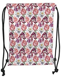 Icndpshorts Drawstring Backpacks Bags,Floral Decor,Watercolor Rose and Orchid Lily Flowers Motif Nature