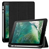 Infiland iPad 9.7 2018 Hülle Case, Schlank Leder TPU Soft Shell Ständer Schutzhülle Case mit Pen Halter und Auto Schlaf/Wach Funktion für iPad 9.7 2018(Nicht enthalten Apple Pencil),Schwarz