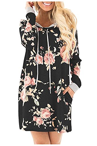 Aumir Womens Long Sleeve Dress Floral Printed Hoodies Sweatshirt Midi Dress with Pockets