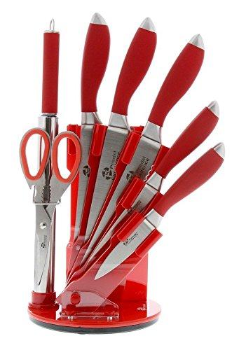 Pradel Excellence Messerblock inklusive Wetzstahl und Schere, Griffe: Rot