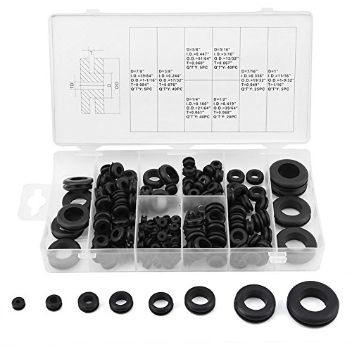 180pcs Gummi-Tülle Assortment Kit, Draht Ring Electrical Conductor Dichtung Washer Seal Assorted Kit -