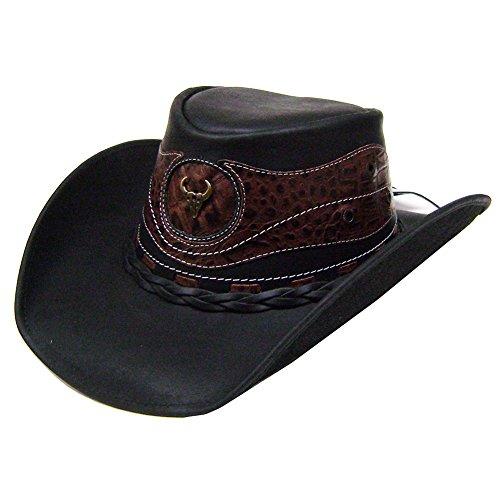 modestone-unisex-leather-chapeaux-cowboy-crocodile-skin-pattern-applique-black