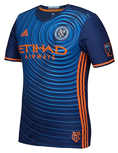 adidas New York City FC MLS Performance Blue Authentic Game Jersey Maglia