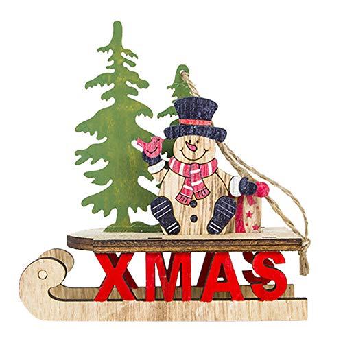- BESSKY Santa Christmas Tree Cute Wood Sleigh Pendant Gift Home Hanging Decorations Weihnachtsschlitten-alter Mann-dekorativer hängender Schneemann
