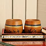 [Sponsored]ExclusiveLane 'New-Old World Charms' Warli Hand-Painted Terracotta Kulhads With Wooden Tray-Tea Glasses With Stand Cutting Chai Glasses With Stand Kullad Tea Cups Kullad Mugs Glasses Tableware Ethnic