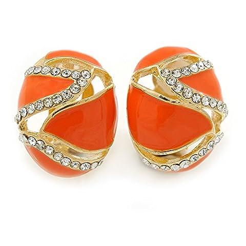 Oval Orange Enamel, Clear Crystal Clip On Earrings In Gold