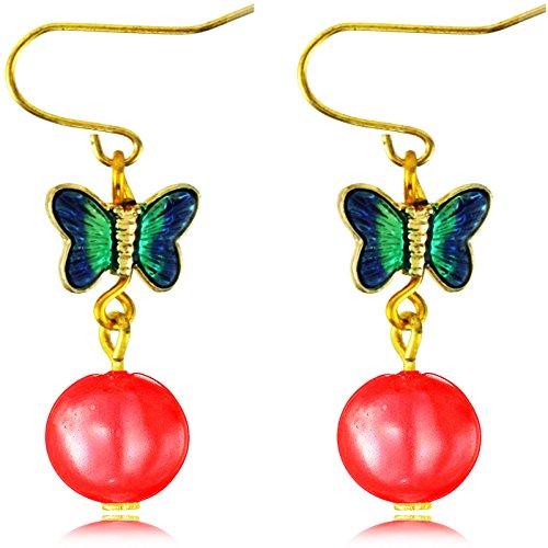Y-blue Orecchini pendenti, con farfalla e perla simulata, per la festa della mamma, multicolore, placcato argento, colore: Red, cod. Butterfly303