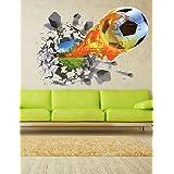 Fútbol 3D fútbol incendio patio rota la etiqueta de la pared calcomanías de pared hueco ventana Vista Home para habitación de niños