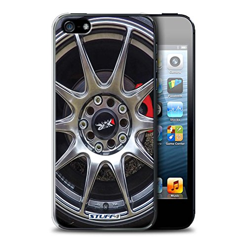 Stuff4 Hülle / Case für Apple iPhone 7 Plus / Silber/Rot Muster / Leichtmetallfelgen Kollektion Silber/Rot