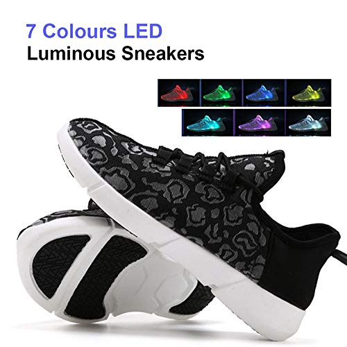 7 Colori LED Ottica Scarpe Light Up Fibra Basso Ultraleggero Sneakers USB Ricaricabile Traspirante Sport Baskets Flat Shoes Lampeggiante Sportive Moda Running Scarpine Donna