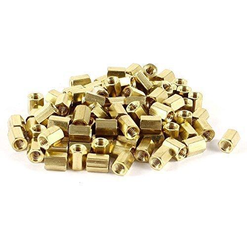 100pc M4x 8M4femmina Filettatura ottone Standoff Spacer 8mm Altezza tono oro