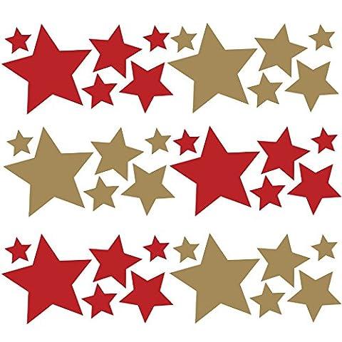 36x Sterne Gold/ Rot Aufkleber, Mix-Set, Fensterdekoration zu Weihnachten Fensterbild / Fensteraufkleber, Wandtattoo Deko Sticker, Autoaufkleber, Weihnachtsdekoration, Schaufenster In- und Outdoor 62s1