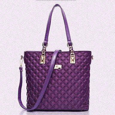 La donna pu / Nylon canna borsa a tracolla / Tote / Cartella / Frizione - Viola / blu / rosso / nero,viola Purple