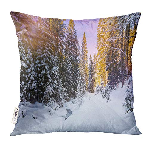 Throw Pillow Cover Wonderful Wintry Landscape Winter Mountain Forest Frosty Trees Under Warm Sunlight Picturesque Nature Decorative Pillow Case Home Decor Square 18x18 Inches Pillowcase (Mountain Halloween Space)