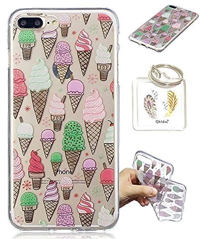 iPhone 8 Plus / 7 Plus Hülle Durchsichtig Silikonhülle für iPhone 8/7 Plus (5.5 Zol) Kratzfeste TPU Klar Transaprent Flexibel Weich Bumper Back Case Cover Tasche Schön Muster + Schlüsselanhänger */56 (5)
