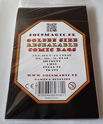 docsmagic.de 100 Resealable Golden Size Comic Book Bags 7-5/8