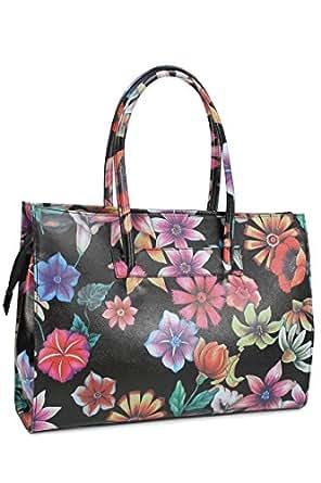 Belli sac à bandoulière sac business ® cuir noir avec motifs fleurs - 40 x 30 x 10 cm (H x L x P)