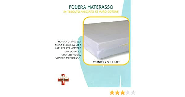 Euroricami Viterbo Coprimaterasso zip singolo traversa con cerniera a sacco 1 piazza puro cotone