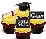 Decoración comestible para tartas de graduación, clase de 2018, obleas de pie, adornos de cupcakes, 12 unidades