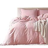 HOTNIU - Set copripiumino in microfibra con federa - 3 Pezzi Set di biancheria da letto con pom-fringe in tinta unita - Matrimoniali, Rosa